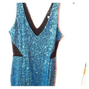 Bebe Sequined Dress w/sheer side cutouts